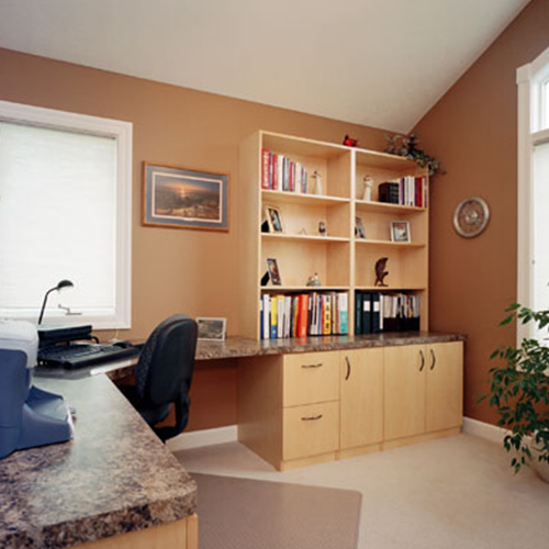 Contemporary office desk and cabinetry